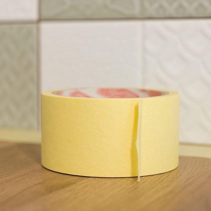 masking tape on kitchen counter