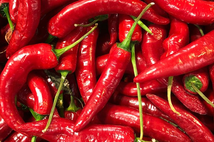 Detail of red chilli peppers