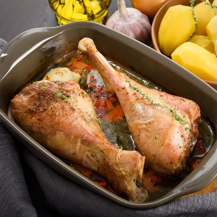 Dinner: roasted turkey legs with vegetables, potato and herbs; Shutterstock ID 1302584431; Job (TFH, TOH, RD, BNB, CWM, CM): TOH