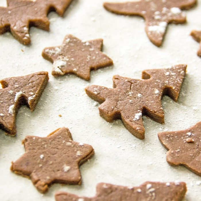Christmas homemade cookie from cookie cutters. The concept of New Year's baking, handmade, homemade sweets for the holiday. Cookie cutters and dough. Herringbone cookie dough; Shutterstock ID 1494998033; Job (TFH, TOH, RD, BNB, CWM, CM): Taste of Home