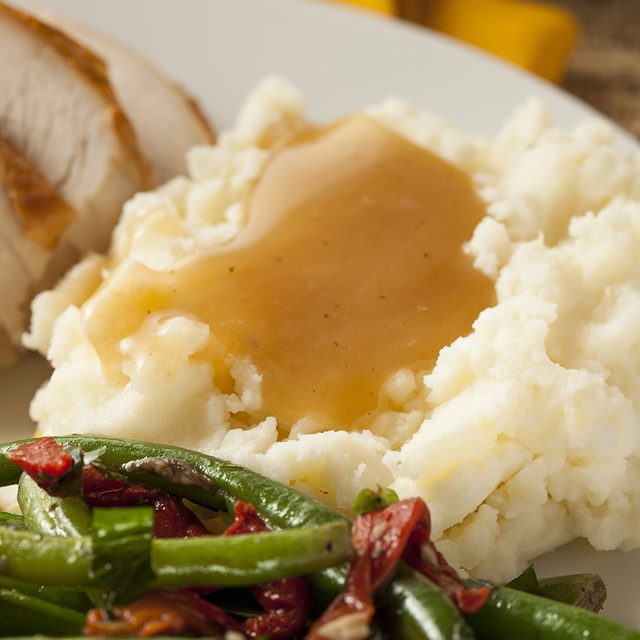 Homemade Organic Mashed Potatoes with Gravy for Thanksgiving; Shutterstock ID 157931900; Job (TFH, TOH, RD, BNB, CWM, CM): Taste of Home