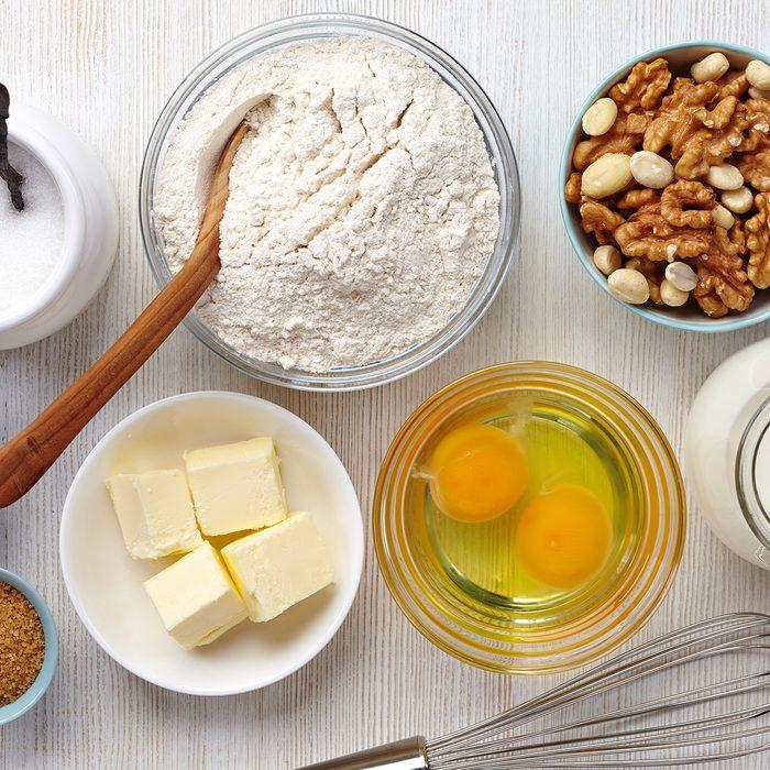 Ingredients for baking cake; Shutterstock ID 189940376; Job (TFH, TOH, RD, BNB, CWM, CM): Taste of Home