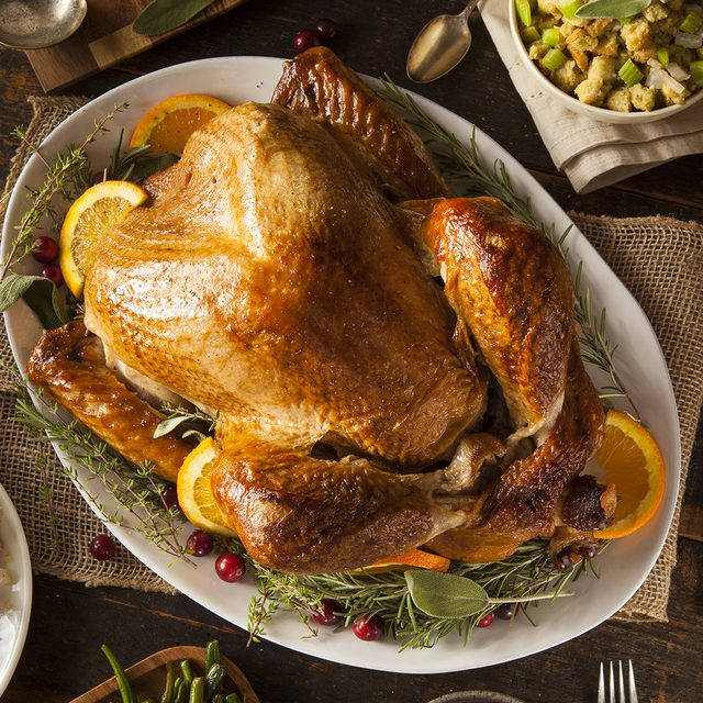Whole Homemade Thanksgiving Turkey with All the Sides; Shutterstock ID 224254705