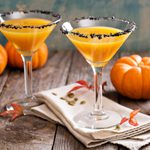 Pumpkintini pumpkin martini coctail with black salt rim for fall and halloween parties; Shutterstock ID 328862420; Job (TFH, TOH, RD, BNB, CWM, CM): TOH
