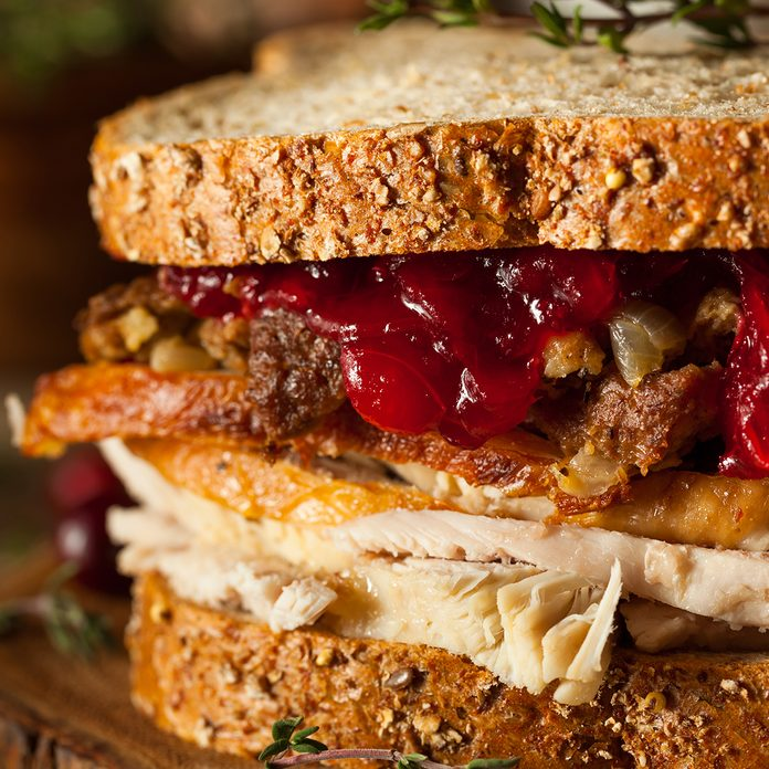 Homemade Leftover Thanksgiving Sandwich with Turkey Cranberries and Stuffing; Shutterstock ID 334602803; Job (TFH, TOH, RD, BNB, CWM, CM): Taste of Home