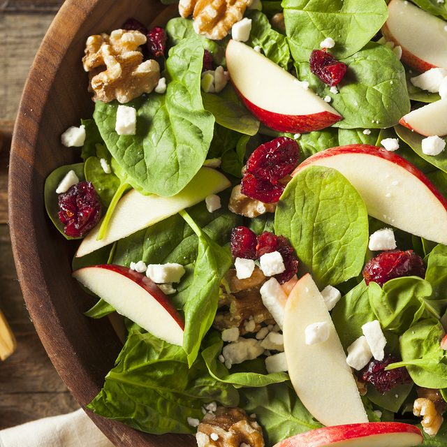 Homemade Autumn Apple Walnut Spinach Salad with Cheese and Cranberries; Shutterstock ID 477533599; Job (TFH, TOH, RD, BNB, CWM, CM): Taste of Home