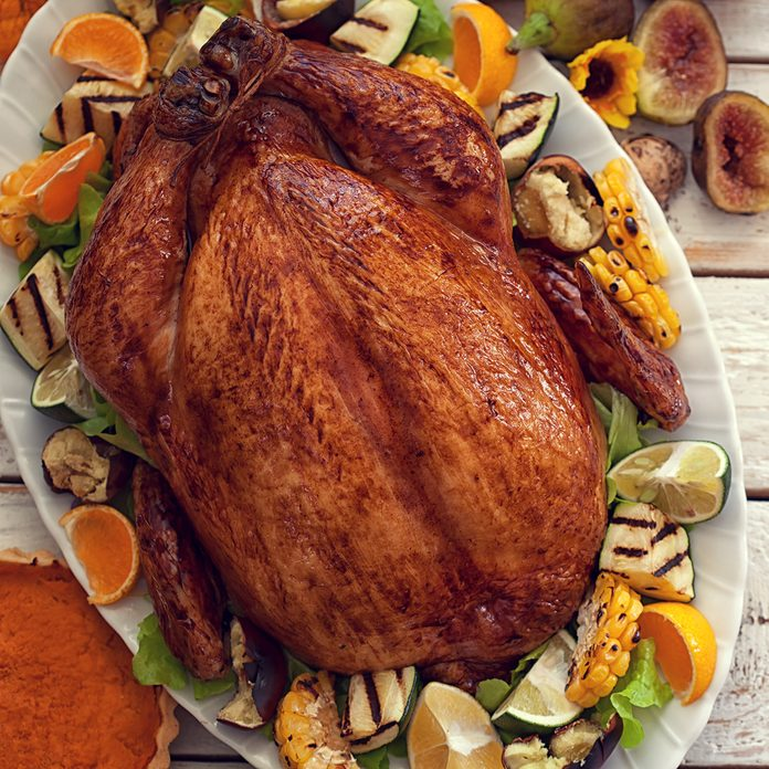 Thanksgiving Turkey dinner on white wooden table with copy space ; Shutterstock ID 500785708; Job (TFH, TOH, RD, BNB, CWM, CM): TOH