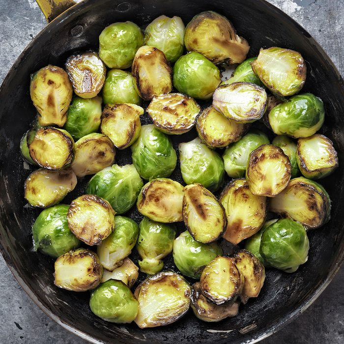 close up of rustic crispy fried brussels sprouts; Shutterstock ID 609103088; Job (TFH, TOH, RD, BNB, CWM, CM): TOH