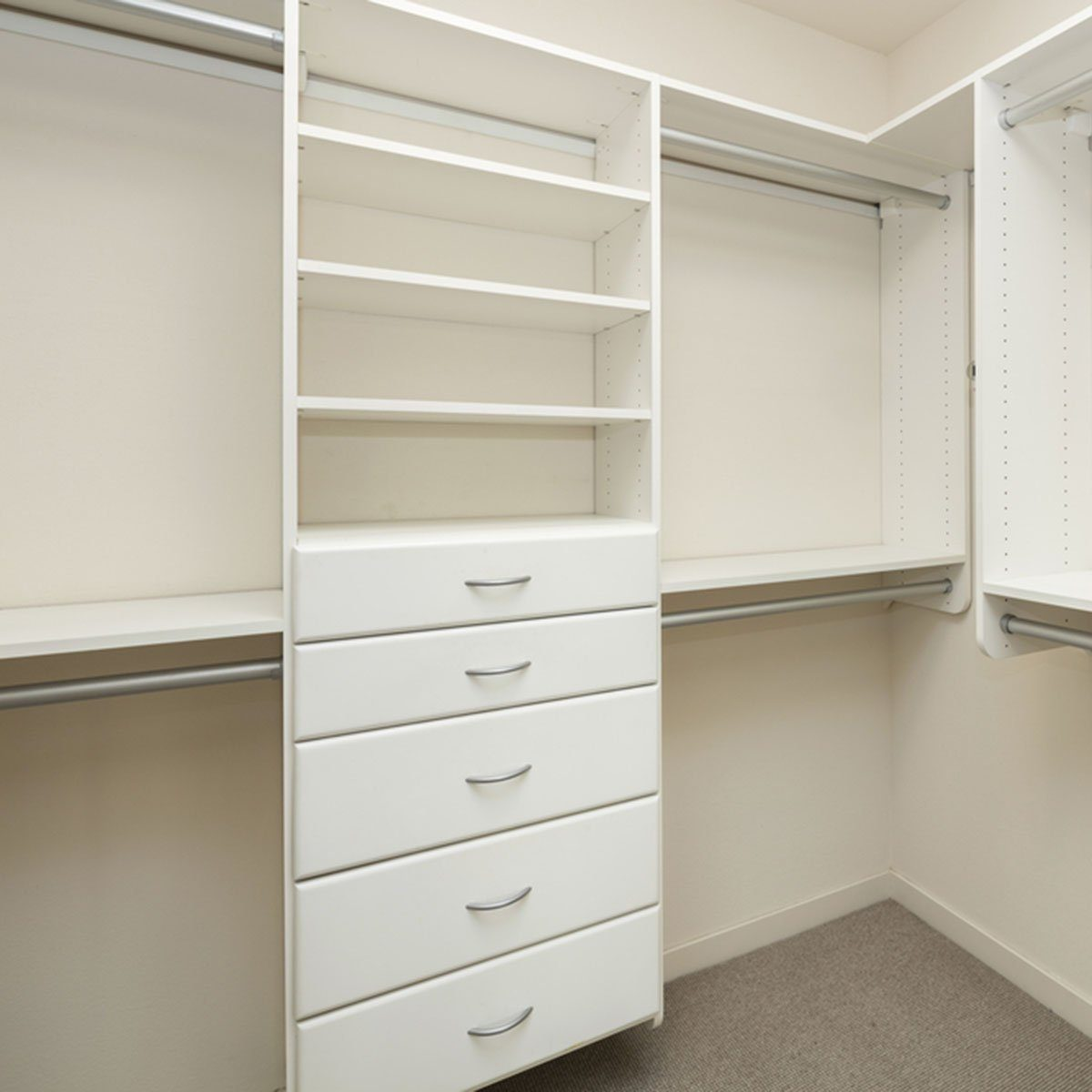 Empty closet space on modern bedroom; Shutterstock ID 656748256; Job (TFH, TOH, RD, BNB, CWM, CM): Taste of Home