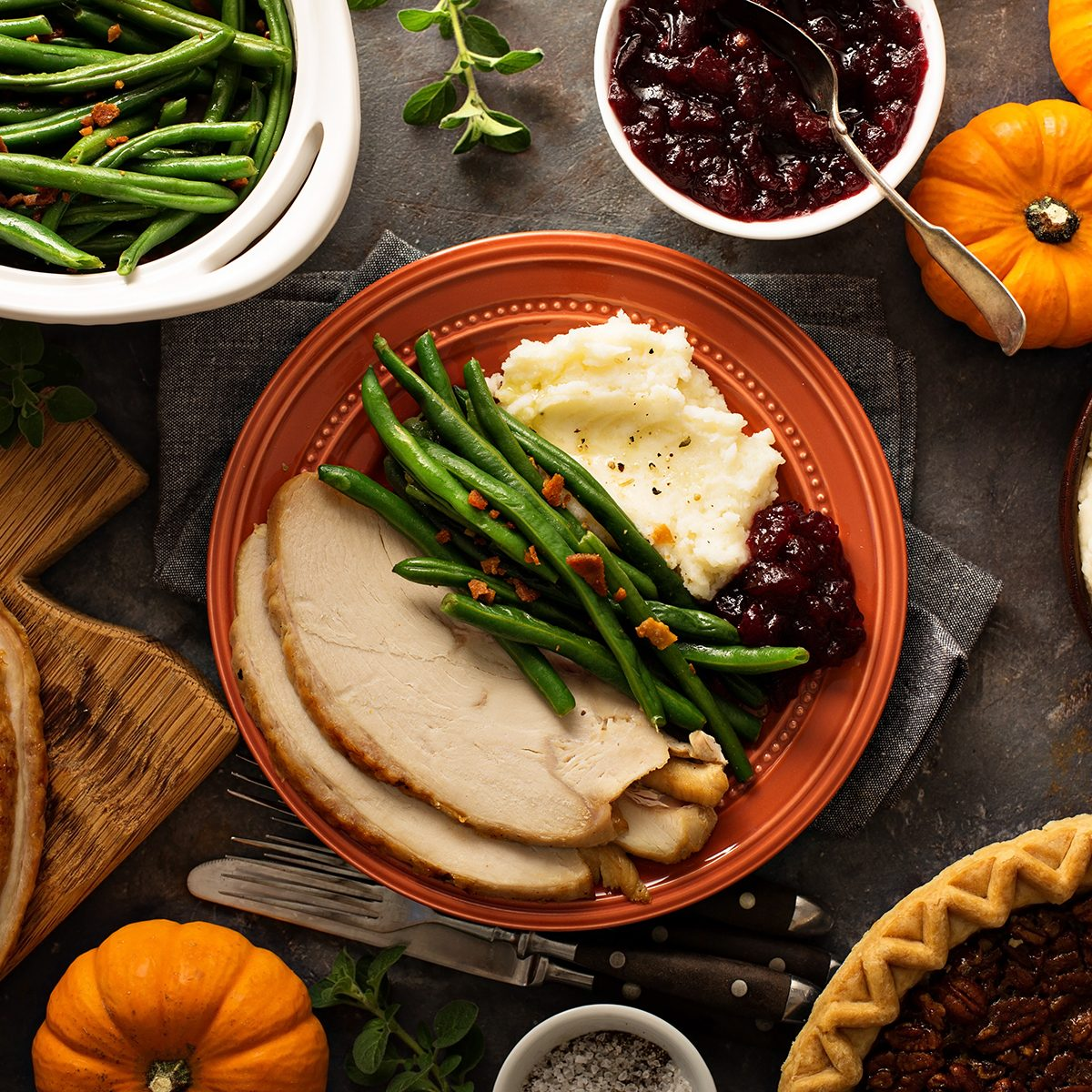 Thanksgiving plate with turkey, mashed potatoes, green beans and cranberry sauce; Shutterstock ID 735091315; Job (TFH, TOH, RD, BNB, CWM, CM): TOH