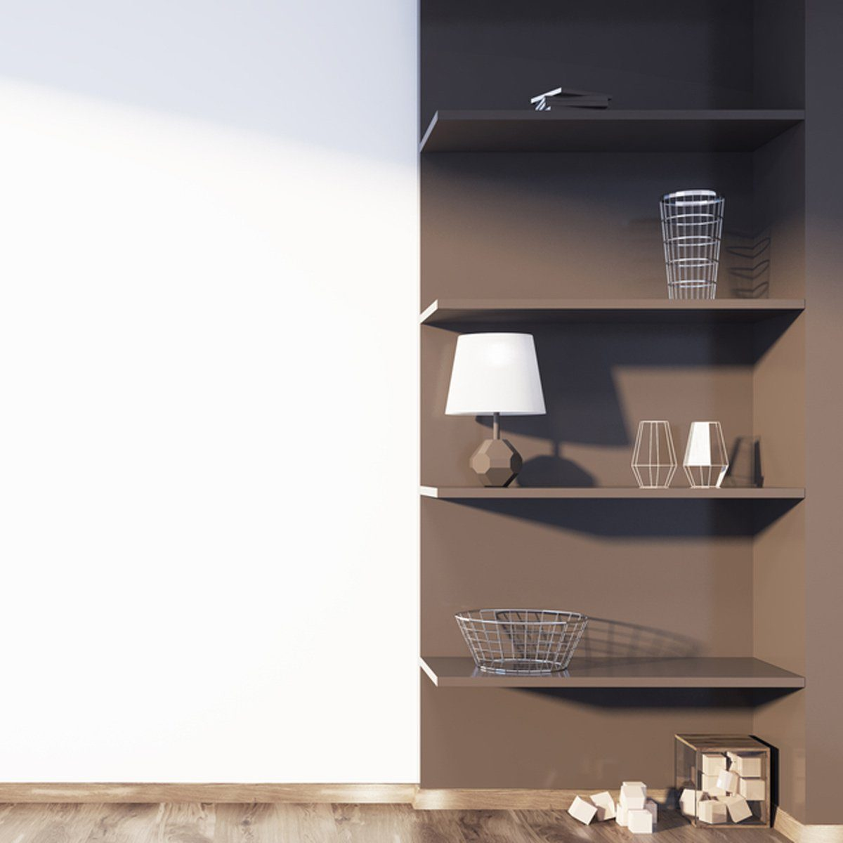 shutterstock_753838924 organize your living room open shelves
