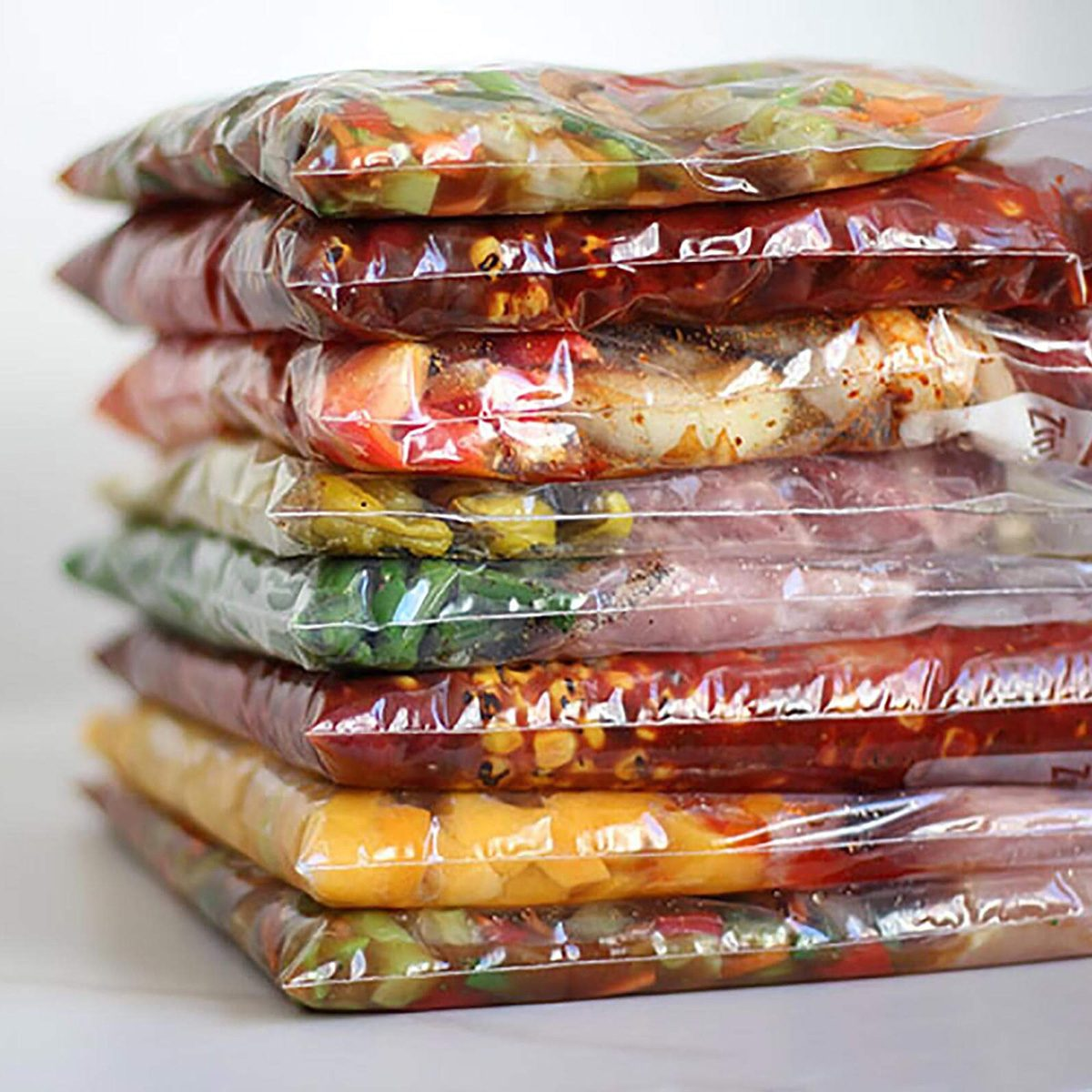 Meals layered in plastic bags