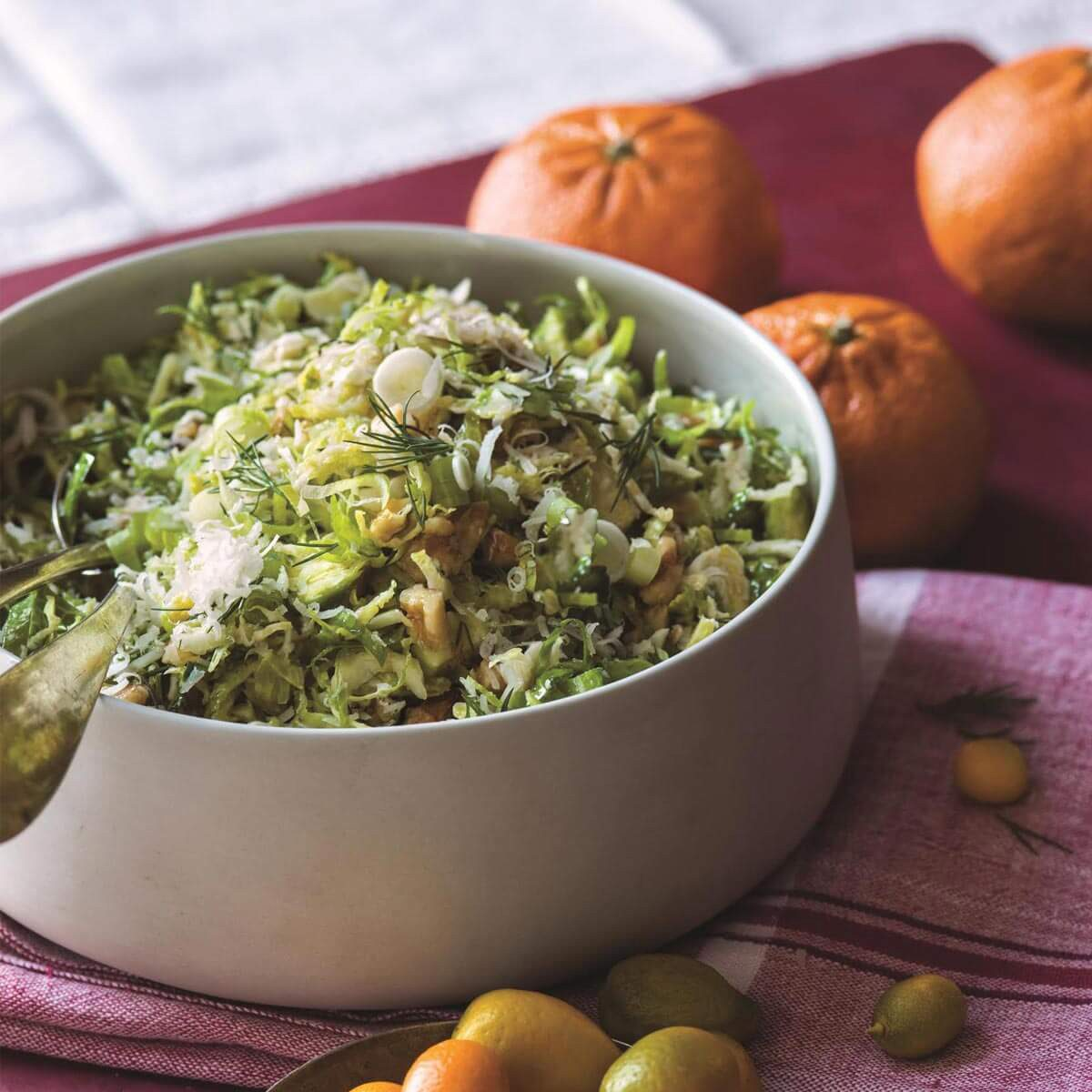 shaved Brussels sprouts with Pecorino with a simple dressing