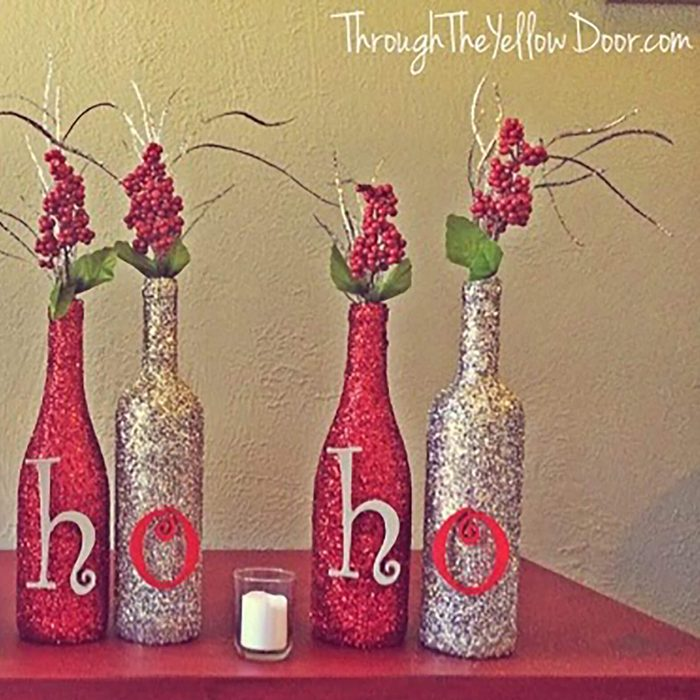 Glittery holiday message bottles