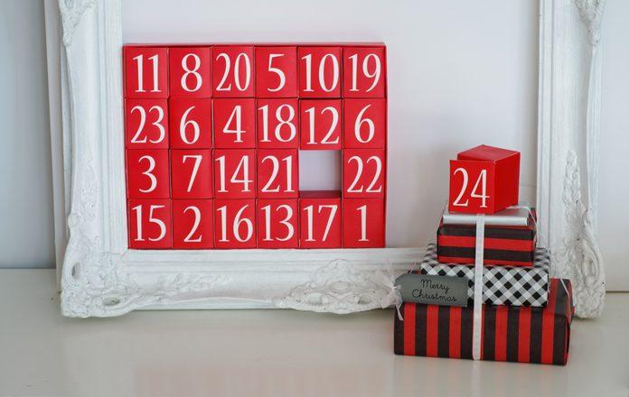 Advent Calendar and Christmas Presents Christmas Eve Concept Stock Photo