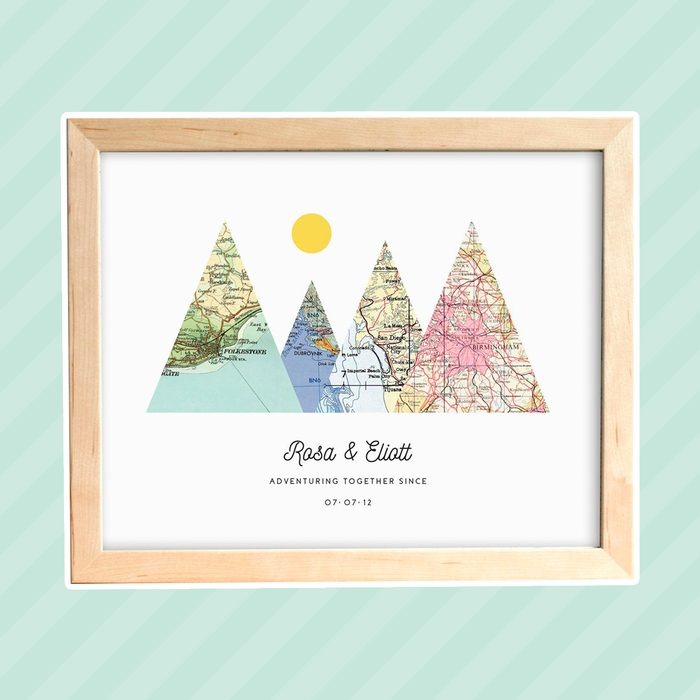 Adventure Together Print, 4 Map Mountain Print, Personalized Map Art, Wedding Gift Art, Custom Anniversary Print, Gift for Couple