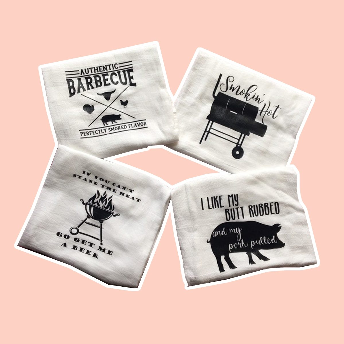 BBQ themed kitchen towels/funny bbq kitchen towels for dudes/Fathers Day/bachelor gift/ adult kitchen humor/ gifts for him