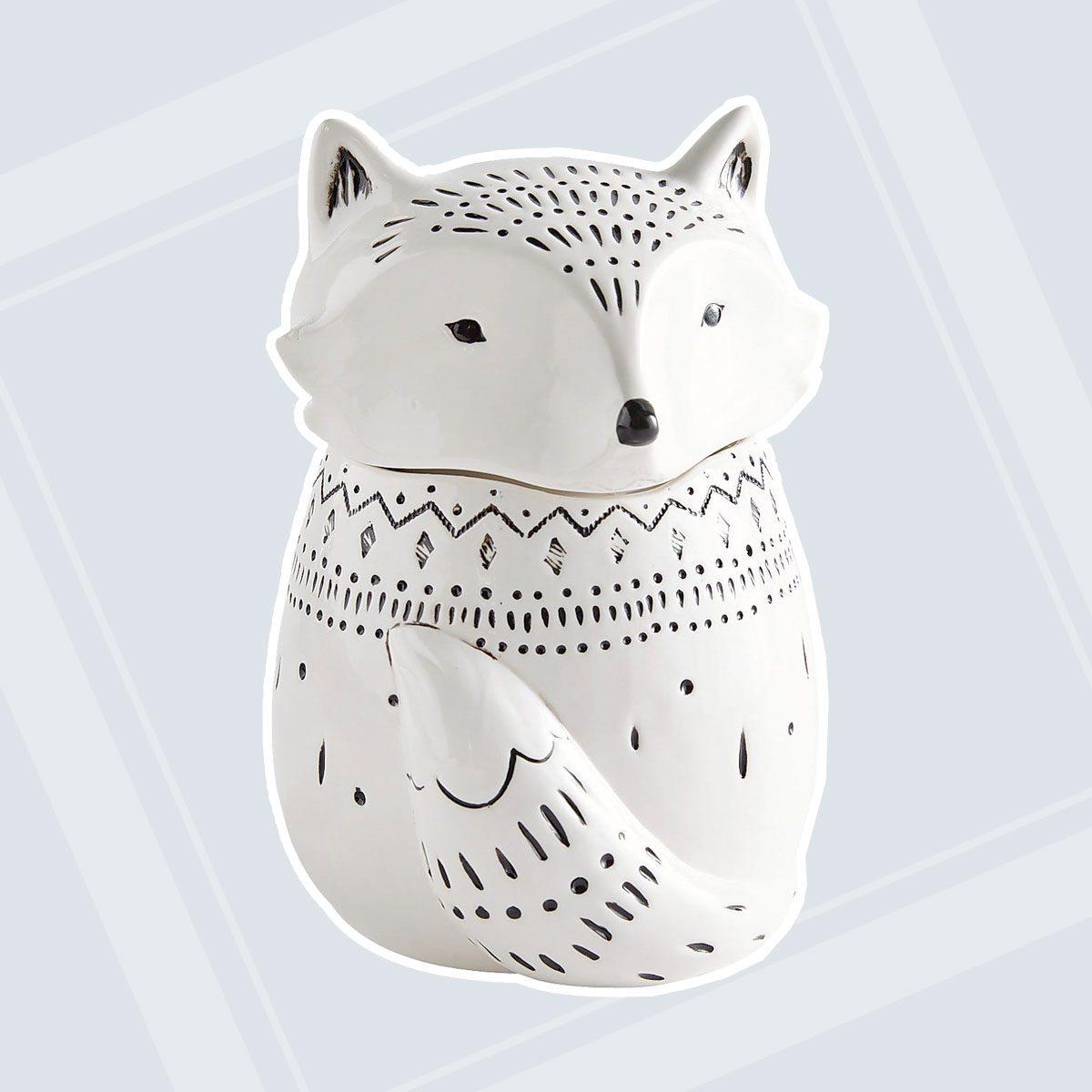 Black & White Fox Cookie Jar