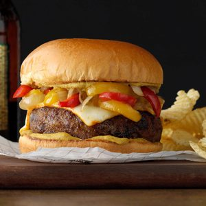 Bratwurst Burgers with Braised Onions