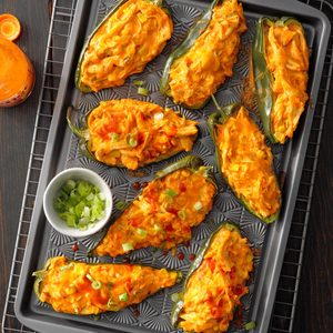 Buffalo Chicken Stuffed Poblano Peppers