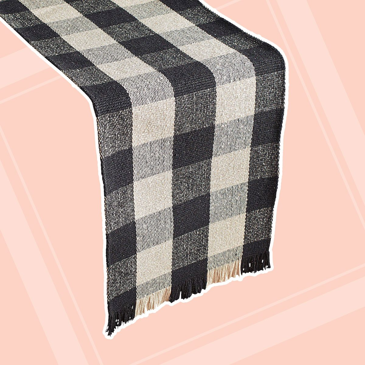 Check Table Runner with Fringe