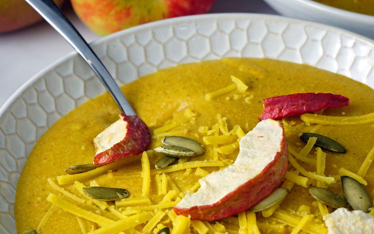 Close-up of vegan vegetable soup
