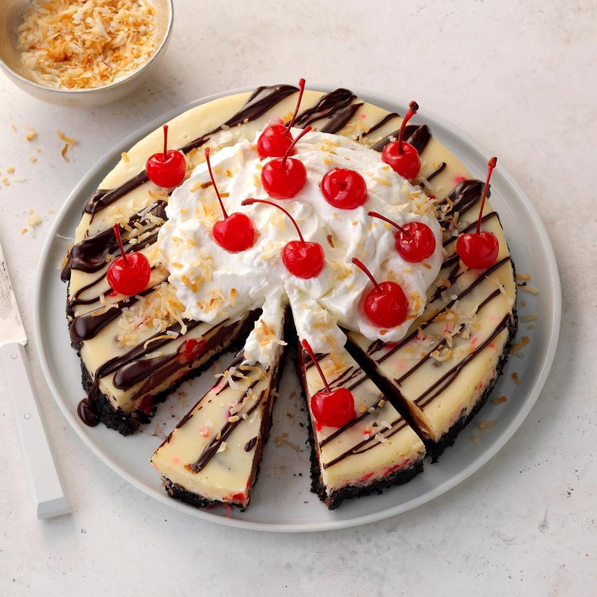 Cherry Fudge Truffle Coconut Cheesecake