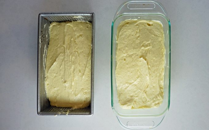 Pound cake batter in two loaf pans
