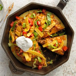 Taco Skillet Pizza with Cornbread Crust