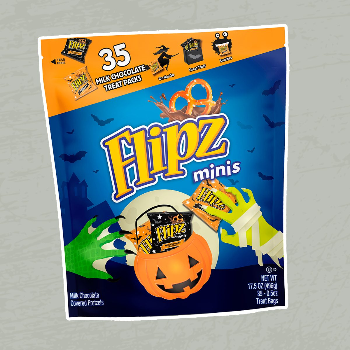 Flipz Chocolate Covered Mini Pretzels Halloween 35ct Bag