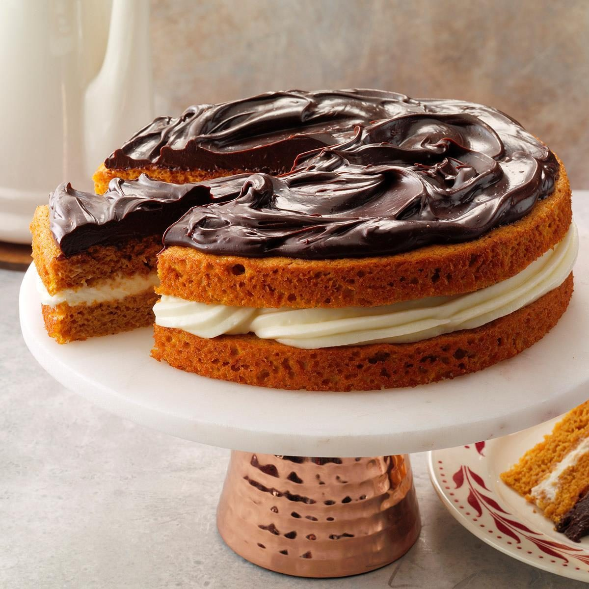 Utah: Ganache-Topped Pumpkin Layer Cake