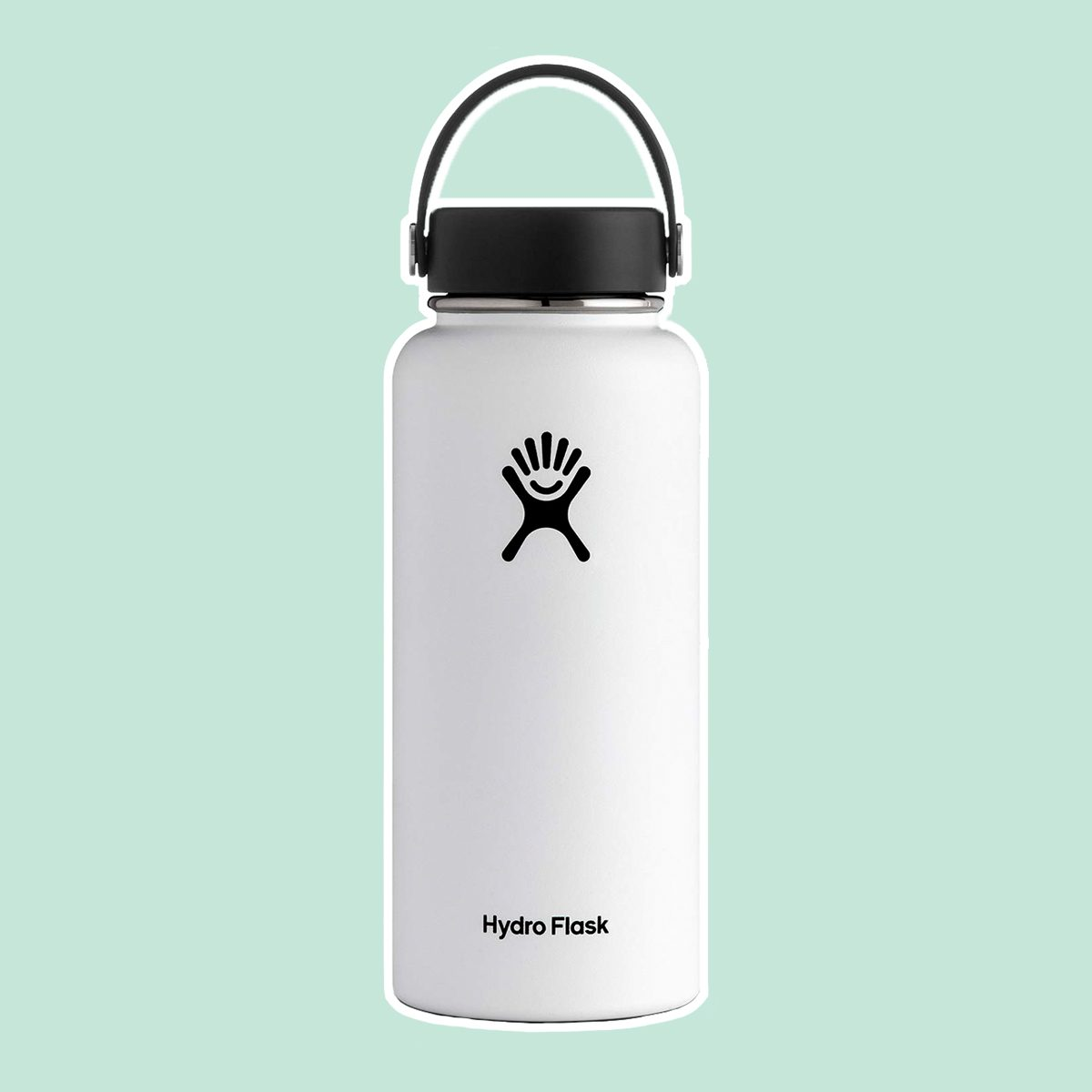Hydro Flask Water Bottle - Stainless Steel & Vacuum Insulated - Wide Mouth with Leak Proof Flex Cap - 32 oz, White