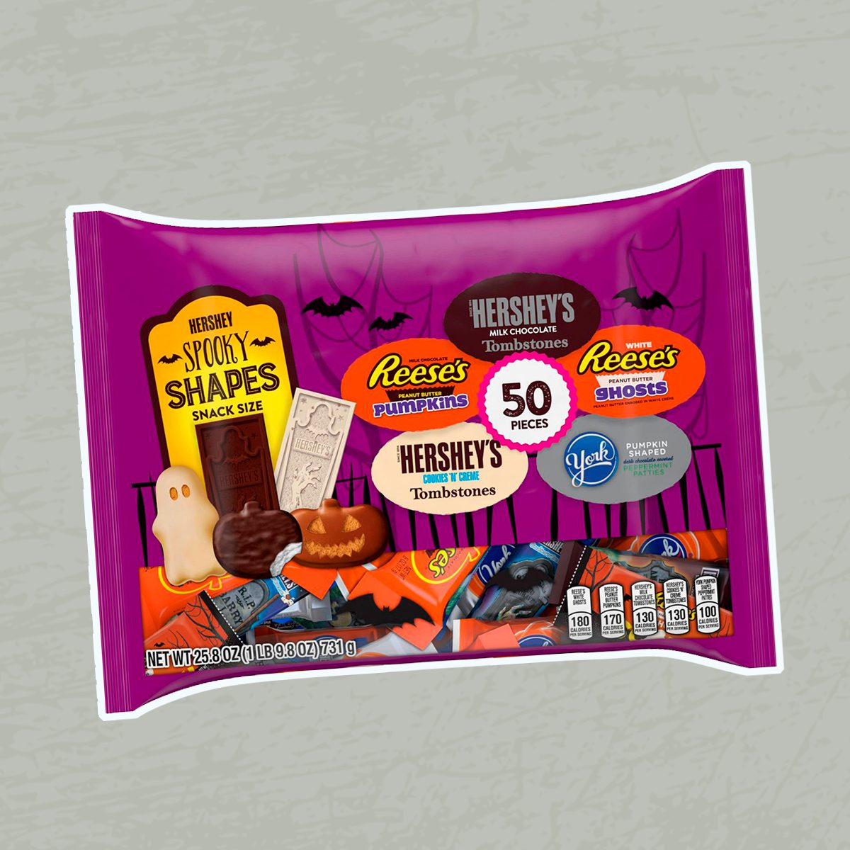 Reese's Hershey's Cookies N Creme and York Peppermint Patties Halloween Spooky Shapes Snack Size Variety Bag