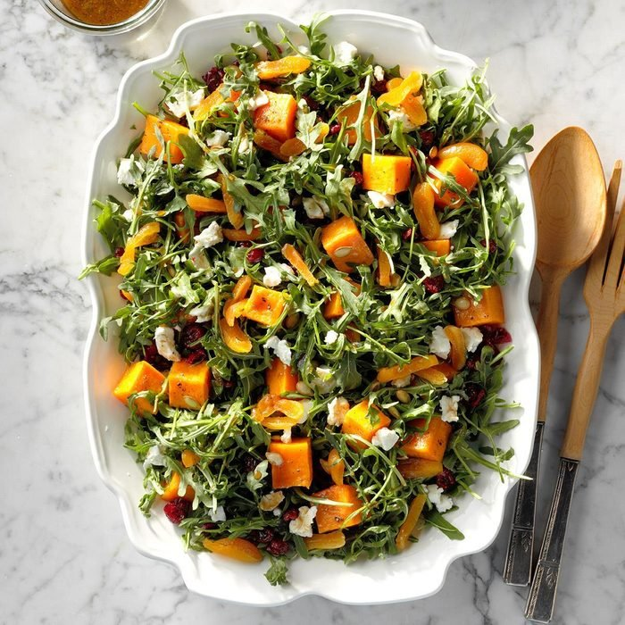 healthy pumpkin recipes - Roasted Pumpkin Salad with Orange Dressing