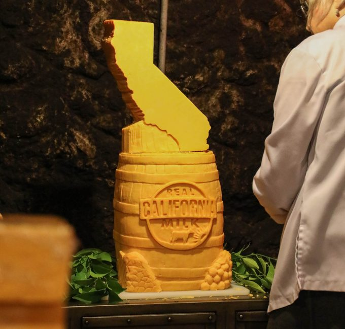 Nep works around her Real California Milk cheese carving in Sonoma, California, in September 2019.