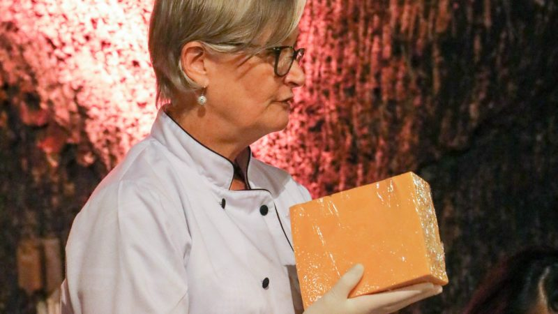 Sarah Nep, professional cheese carver, teaches a tutorial in Sonoma, California, in September 2019.
