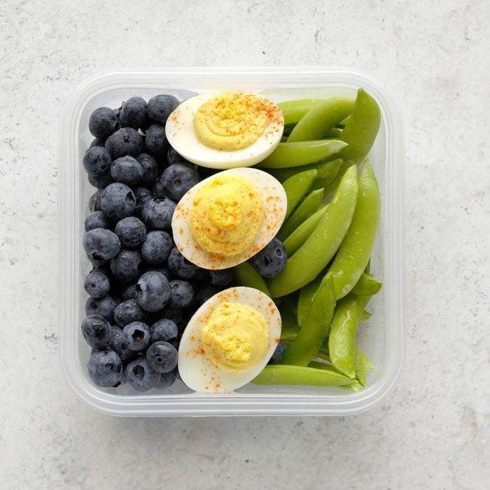 blueberries, hard boiled eggs, sugar snap peas, meal planning premium