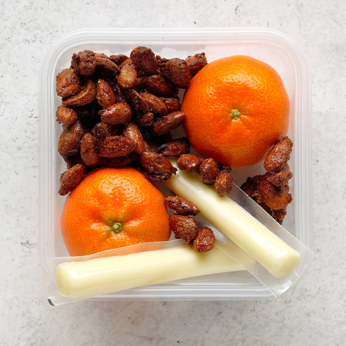 cinnamon toasted almonds, string cheese, fruit, oranges, meal planning premium