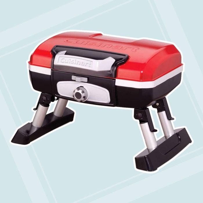 "CUISINART CGG-180T CGG180T Portable Propane, 13"" H x 16.50"" W x 16"" L, Petit Gourmet Tabletop Gas Grill, Red"