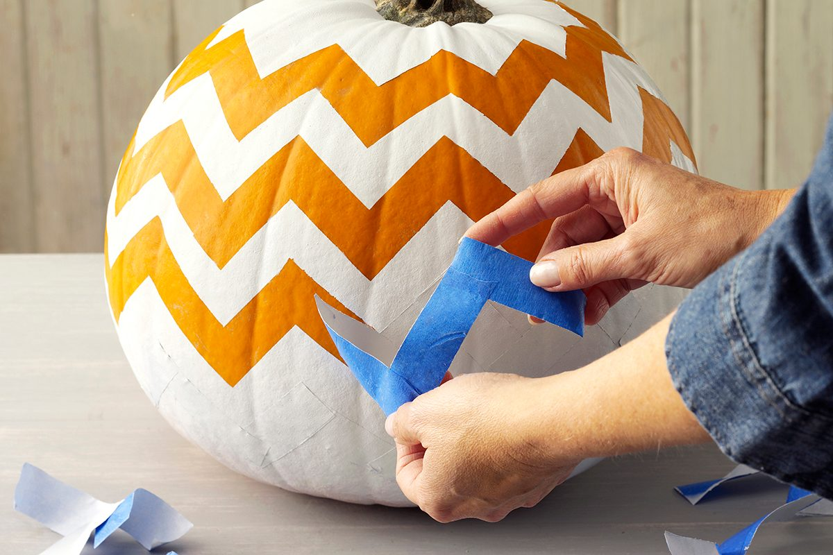Create a chevron pattern with painter's tape
