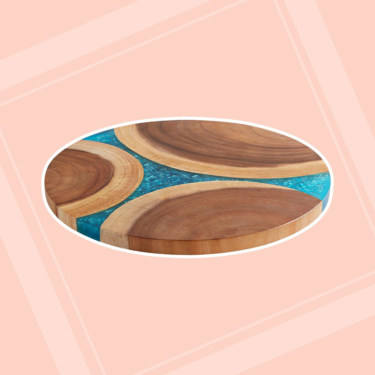 Wooden Turquoise Resin Lazy Susan