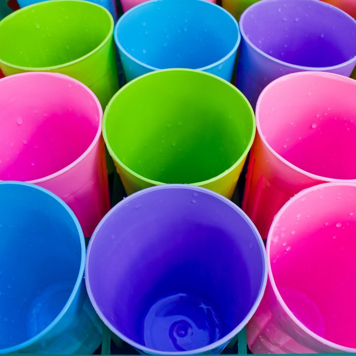 colorful and texture from the row of plastic cup