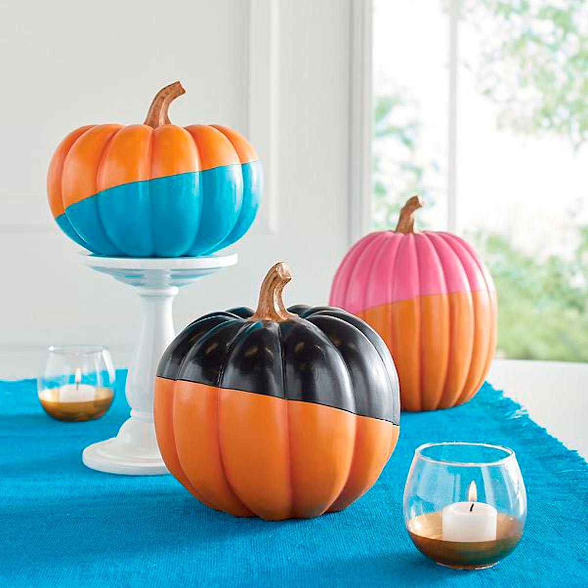 pumpkins dipped in paint
