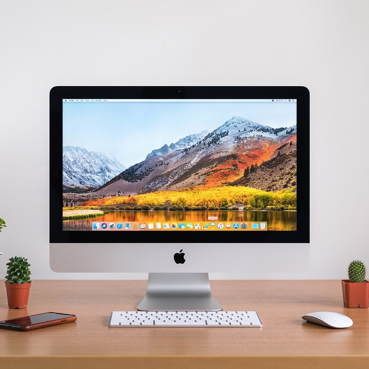 iMac monitor computers, iPhone, keyboard, magic mouse and plants vase on white desk