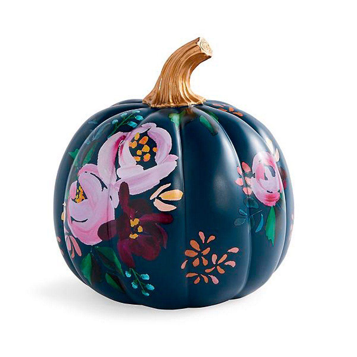 floral design on a pumpkin