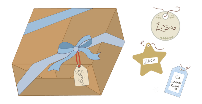 gift tag guide presents graphic