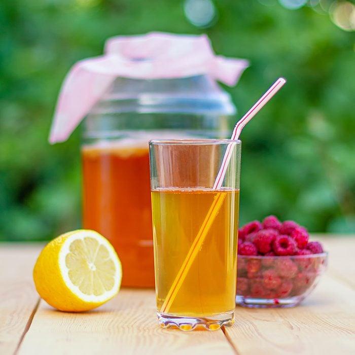Glass jar with Kombucha