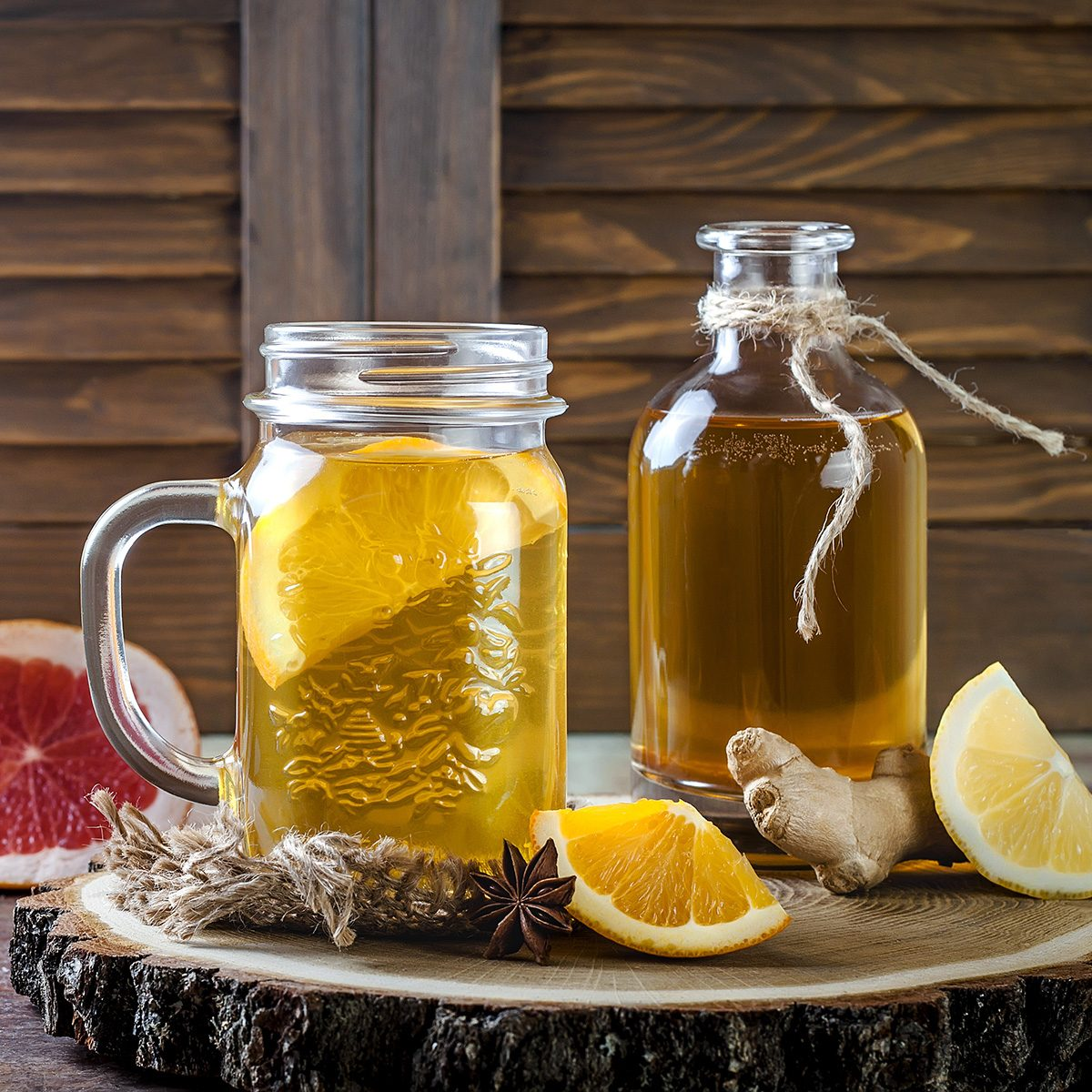 Homemade fermented raw kombucha tea with different flavorings.