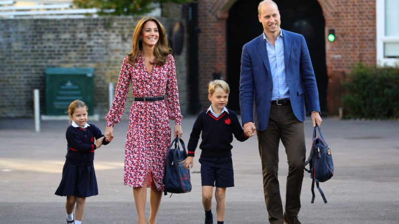 Mandatory Credit: Photo by Shutterstock (10401782ae) Princess Charlotte arrives for her first day of school, with her brother Prince George and her parents the Duke and Catherine Duchess of Cambridge, at Thomas's Battersea in London. Princess Charlotte's first day at school, Thomas's Battersea, London, UK - 05 Sep 2019