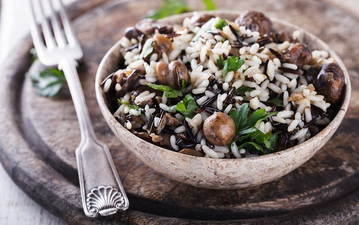 Salad of white and wild rice with mushrooms and herbs.